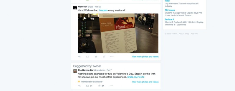 Twitter is experimenting with ads on user streams