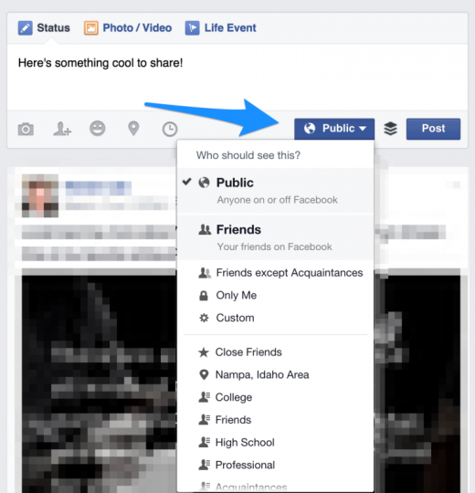 facebook options 771x800 520x540 The 12 point social media checklist for writing amazing posts