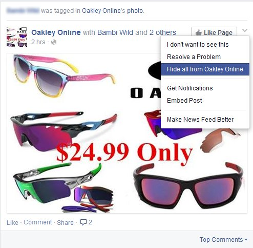 facebook sunglasses spam 5 types of social spam (and how to prevent them)