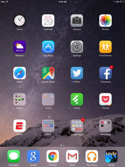 iOS home screen 520x693 Apple iOS8 v Android 5.1   which is best?