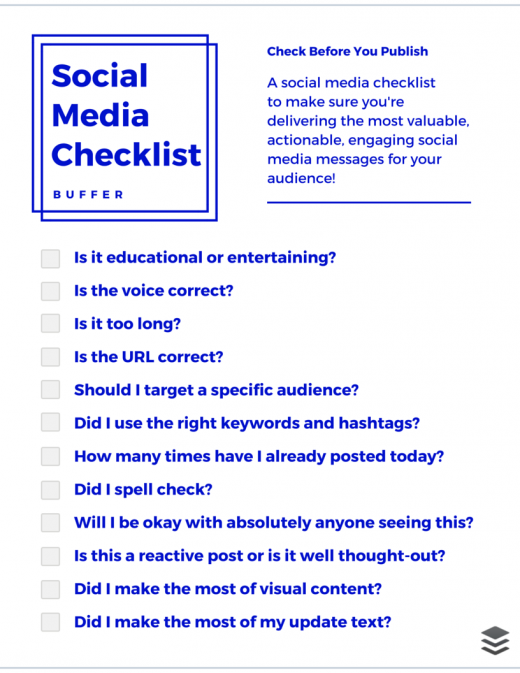 social media checklist buffer 520x673 The 12 point social media checklist for writing amazing posts
