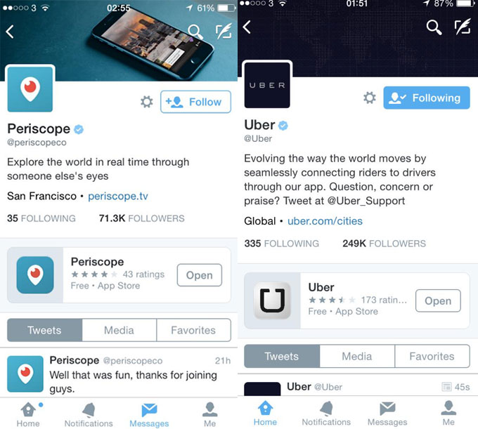 twitterad Twitter is testing the ability to pin apps to brand profiles