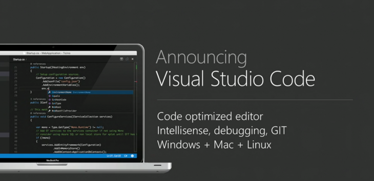 visual studio code 730x353 Everything Microsoft announced at Build Developer Conference 2015: Day 1