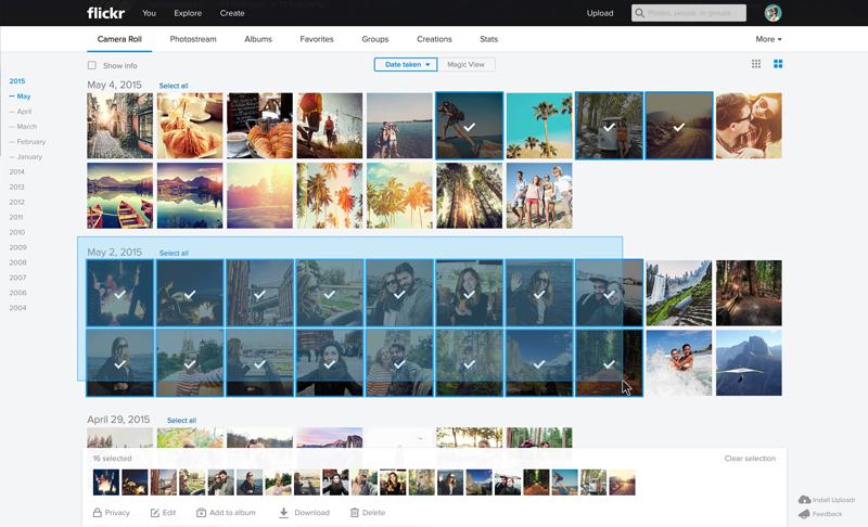 Flickr Web Multi select1 Massive Flickr overhaul coordinates new search, navigation, uploading and mobile app updates