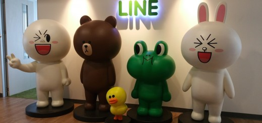 The five major Sticker characters from the LINE franchise greet you upon entrance.