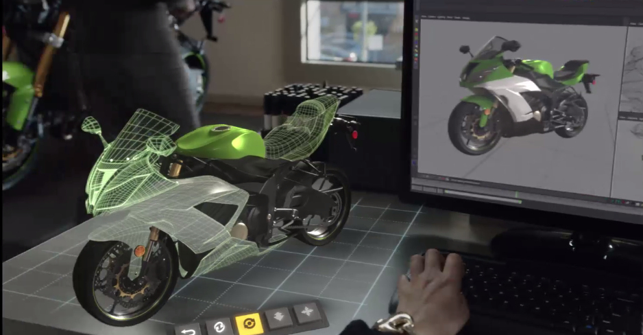 A scene from a HoloLens demo reel showing industrial design applications