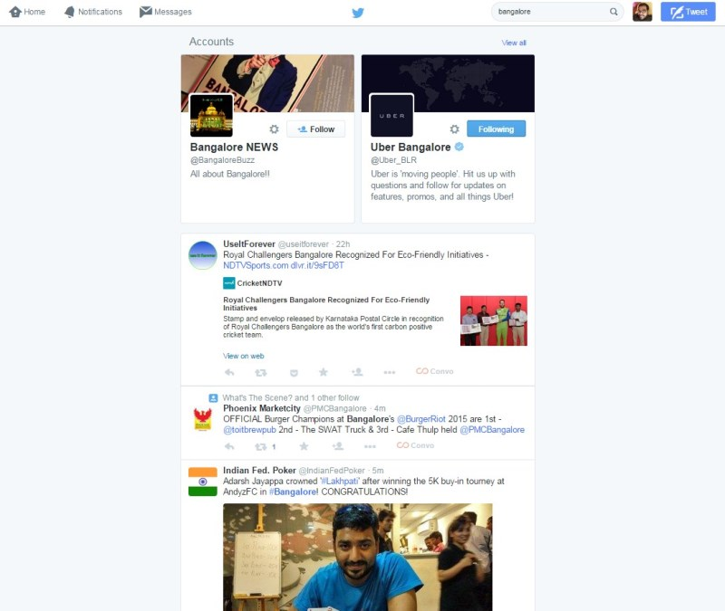 Twitter search results 2