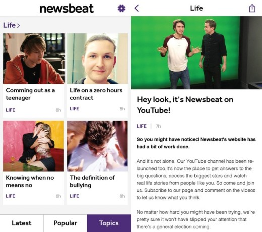 Newsbeat screens