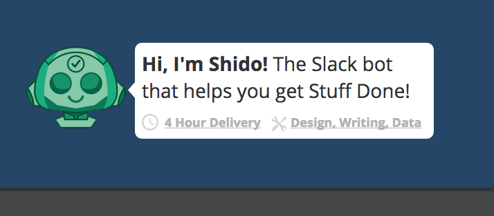 Shido bot for Slack lets you outsource tasks to freelancers from within your channel
