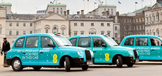EE launches the UK's first ever fleet of superfast 4G taxis in London and Birmingham (delete one city depending on town) allowing passengers to browse, email, Tweet and check Facebook for free using superfast 4G on the go