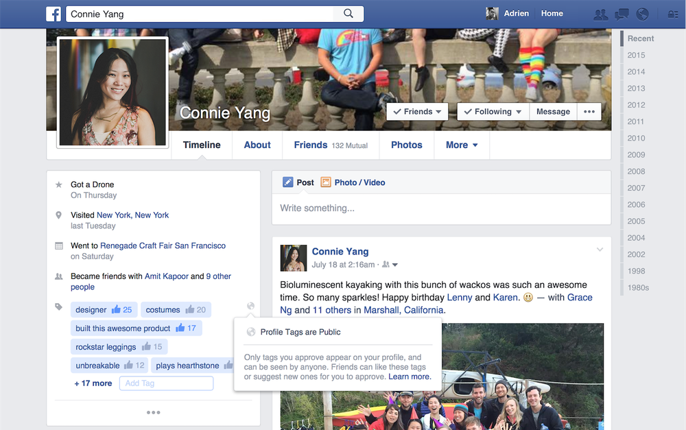 facebook is testing new tags for your profile page