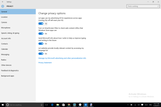 Where to go to kill the ad tracking ID in Windows 10…
