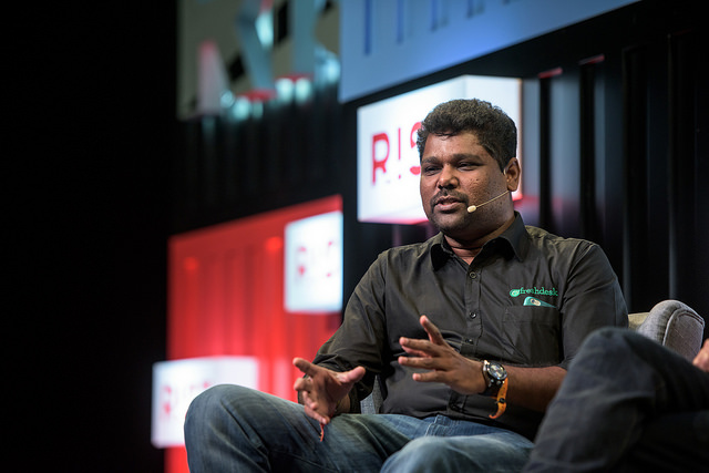 Freshdesk CEO Girish Mathrubootham speaking at Rise Conference 2015