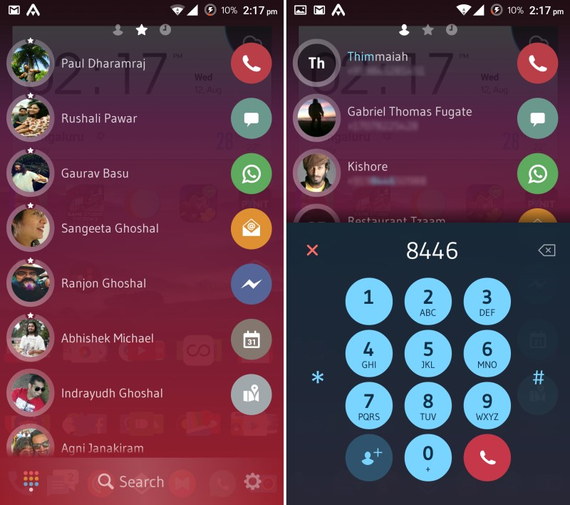 Drag contacts to your favorite messaging apps (left); The new dialer lets you find and call contacts in a snap (right)