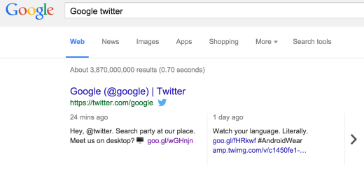 Google integrates Twitter into its desktop search results