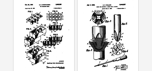 You can turn the Lego, Slinky and Qwerty keyboard patents into high quality posters