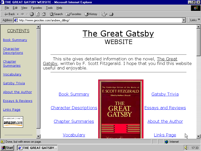 picture of Informative, easy to use website about The Great Gatsby