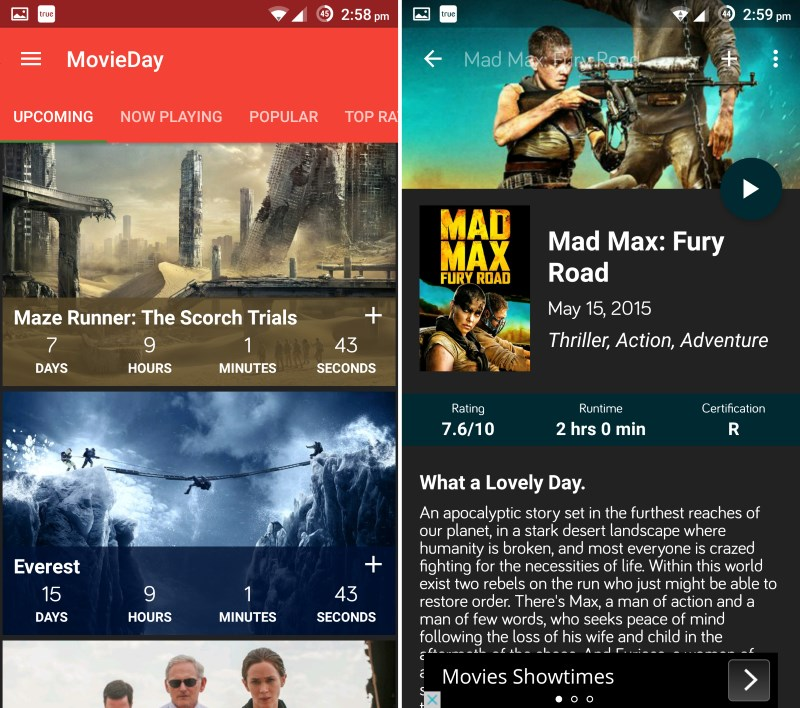 MovieDay helps you track upcoming films with a countdown (left); tap a title to view detailed info and a trailer (right)