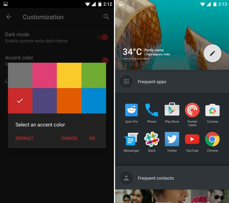 OxygenOS only lets you switch between light and dark themes and choose an accent color (left); the shelf is ocassionally handy (right)