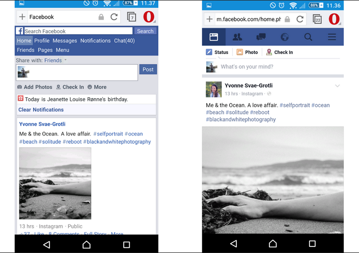 Facebook in Opera Mini's Extreme Mode (left); the same page in High mode (right)