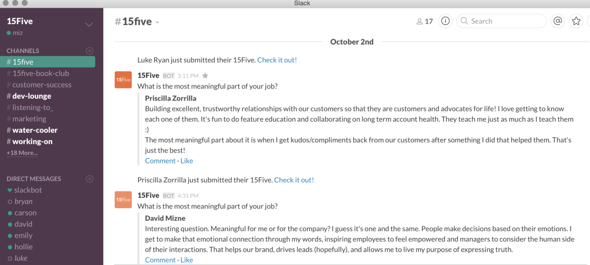 now works with Slack so managers can seek feedback from employees