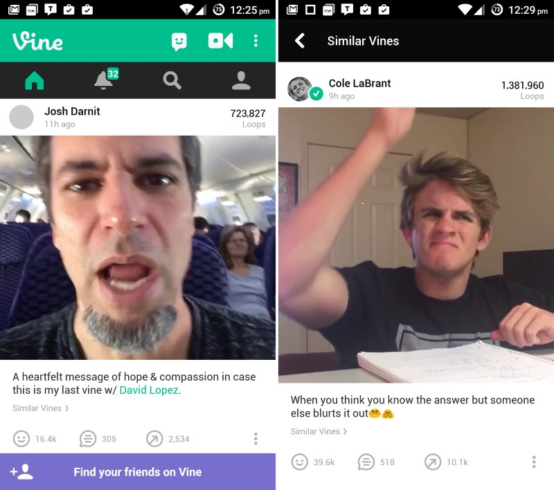 Tap the new 'Similar Vines' button beneath a post to view recommended clips