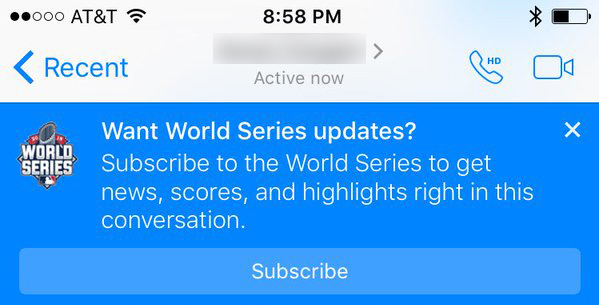 This prompt popped up in Messenger when a user was chatting with a friend about the Mets-Royals game