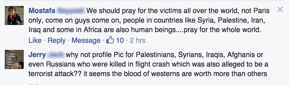 انتقادات لفيس بوك بسبب تضامنه مع الضحايا الفرنسيين دون غيرهم 2