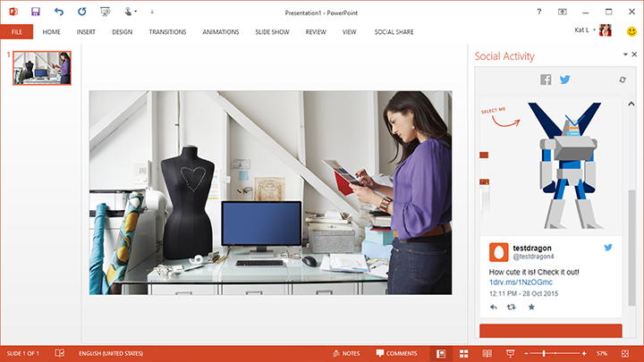 The new Social Activity pane lets you view comments on your shared presentations right within PowerPoint