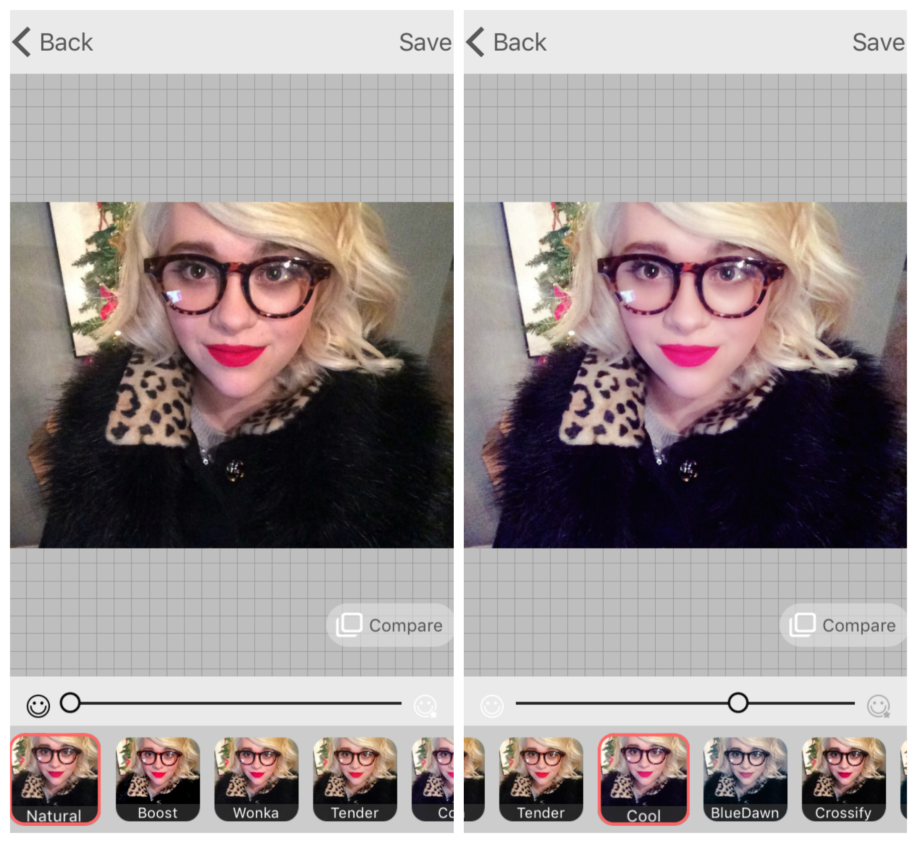 Unedited (left), Microsoft Selfie's 'Cool' filter (right).