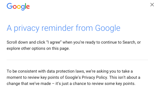 Google privacy pop up