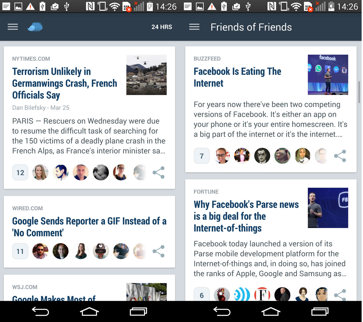 Nuzzel curates news shared by your Facebook and Twitter contacts