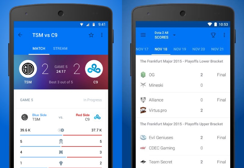 theScore's eSports app brings you live updates, standings and more from a host of popular competitive games