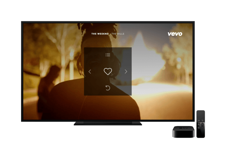 Vevo's new Apple TV app.