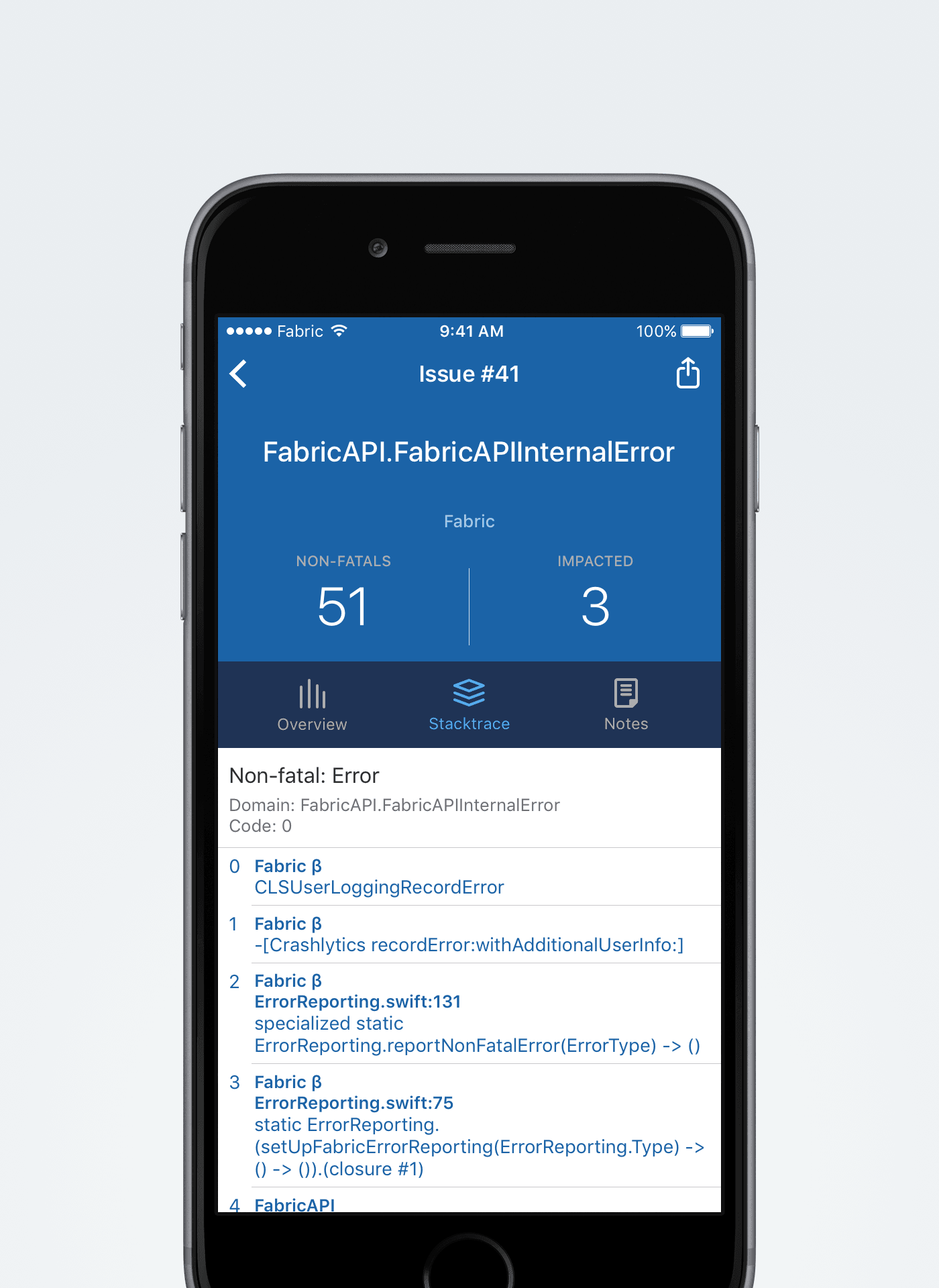 Fabric Mobile App - stacktrace