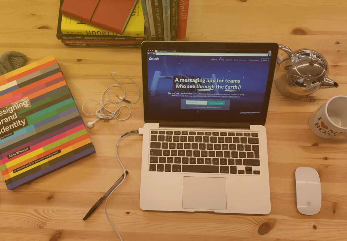 design, laptop, slack, website
