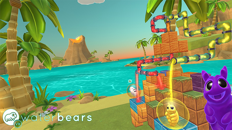 In Water Bears VR, you have to manipulate pipes to guide water in different directions