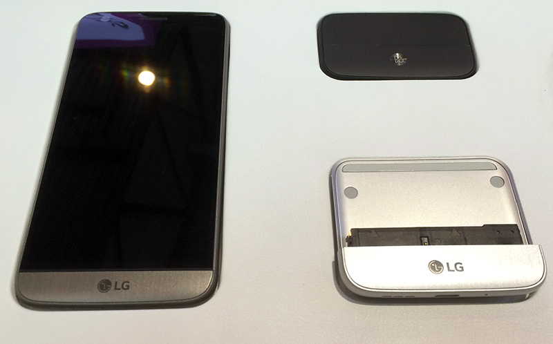 LG's G5 works with two modules, the B&O audio DAC (top right) and the Cam Plus (bottom right)