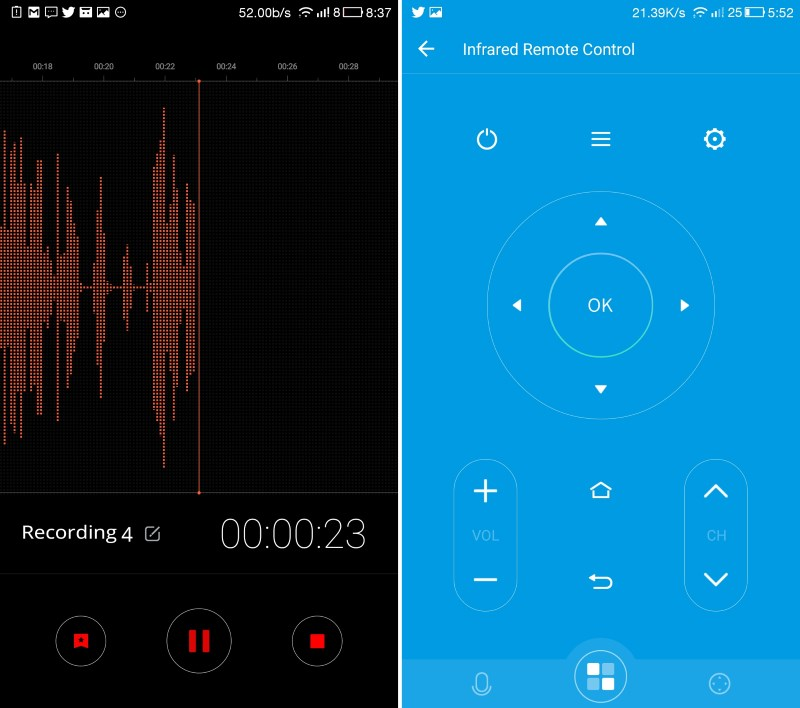 eUI's two most useful bundled apps are the voice recorder (left) and the remote control (right)