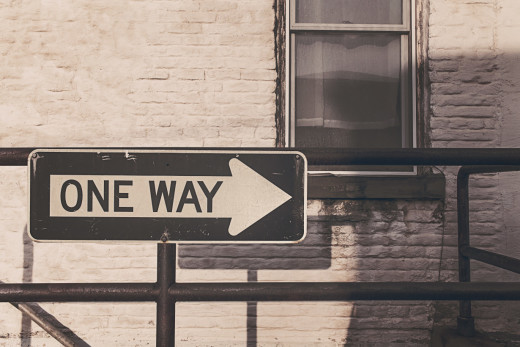 one way, one direction, focus