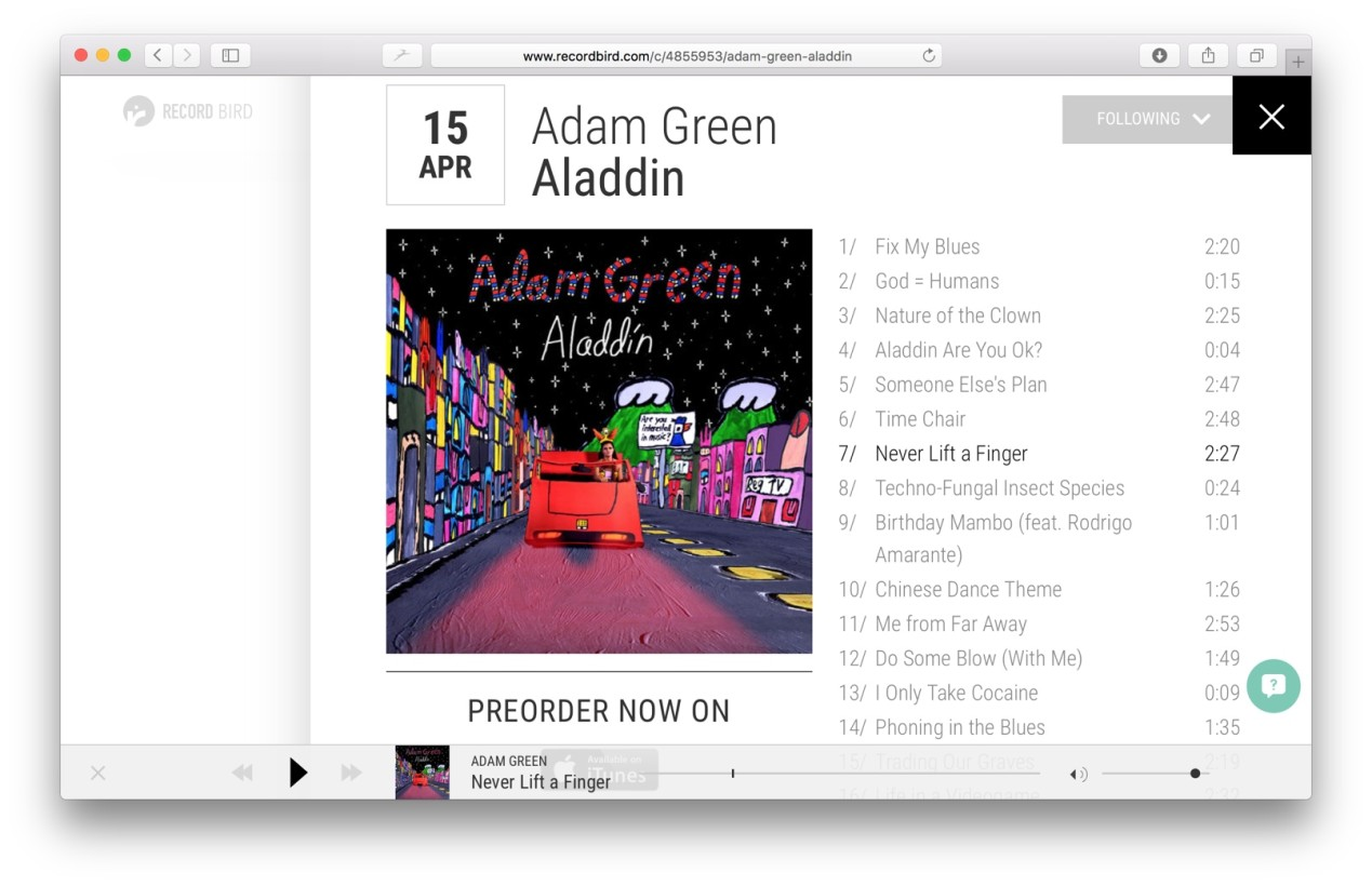 A new Adam Green album, you say? Track previews can be streamed if they're available on iTunes.