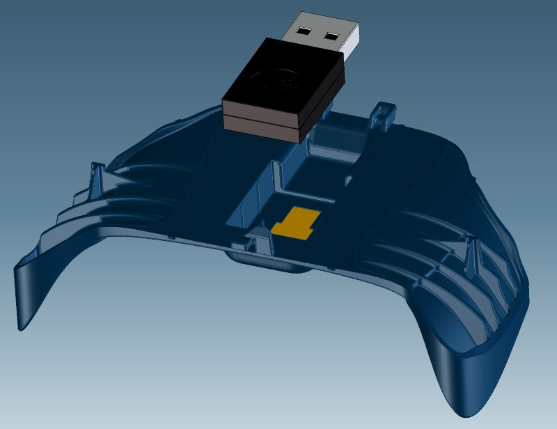 An alternative version of the Steam Controller's battery door lets you stow away its USB wireless dongle