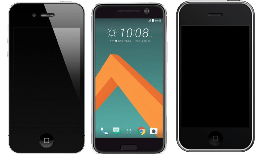 From left: iPhone 4, leaked image of rumored HTC (M) 10 and iPhone 3G