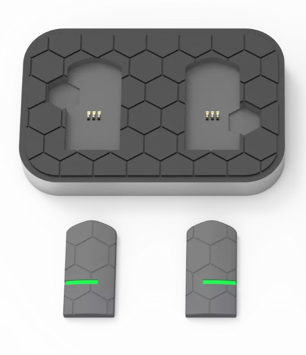 Hykso's sensors can be slipped into your handwraps and charged using the included dock