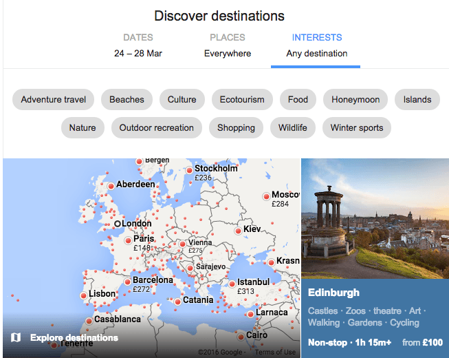 Google Flights new 'search by interests' feature