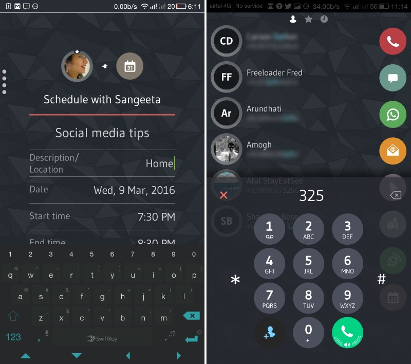 The app lets you create calendar events in a snap (left); the dialer offers a number of useful features (right)
