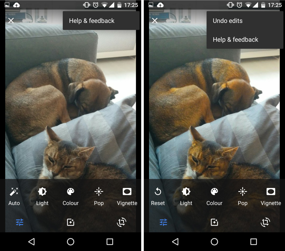 google photos undo edits function android