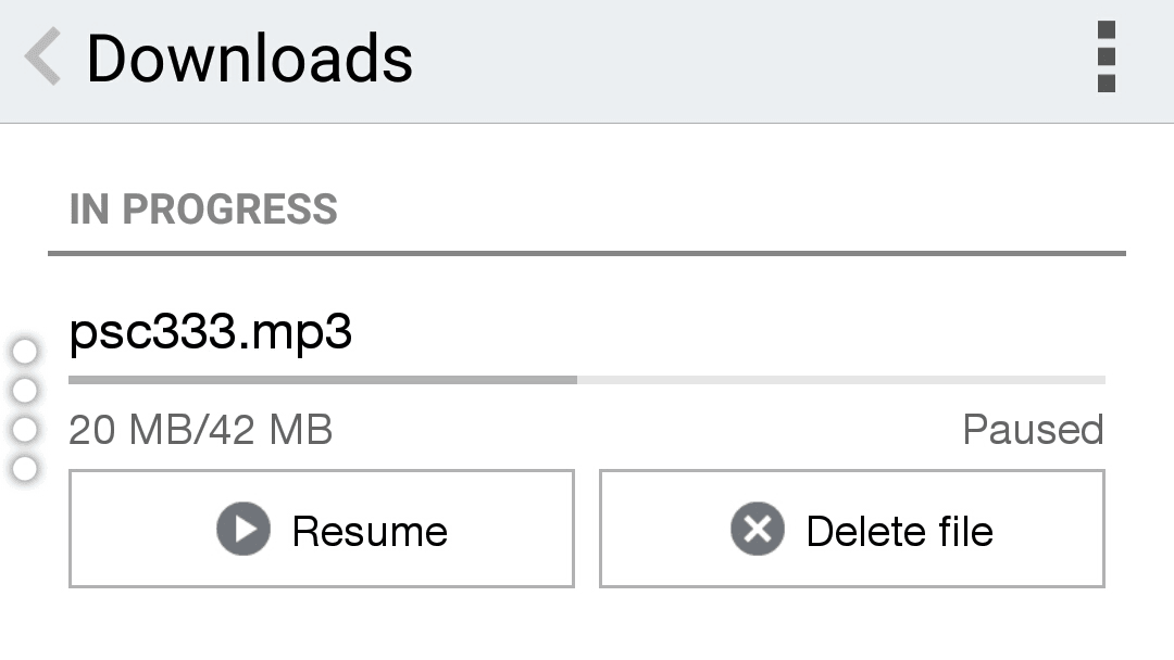 how to resume paused download in chrome