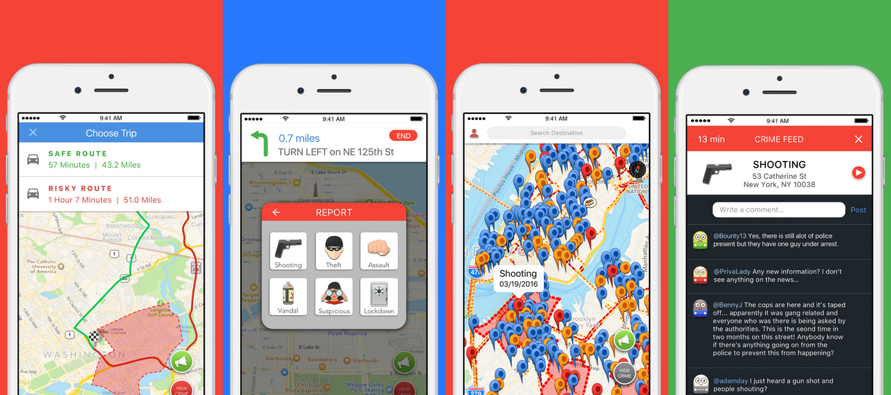 redzone crime navigation app