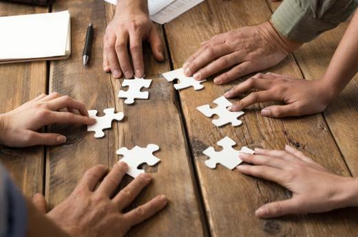 collaboration, team work, puzzel